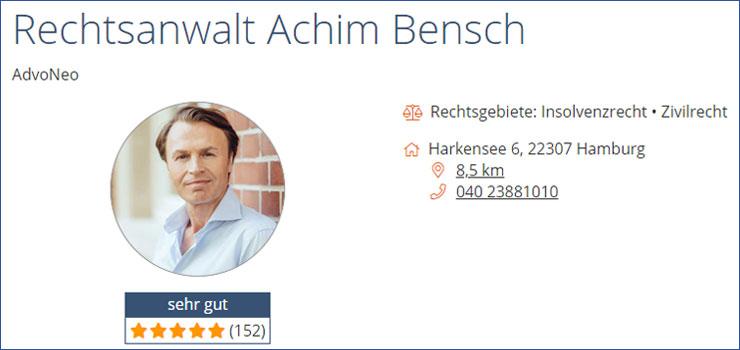 Profil AdvoNeo Schuldnerberatung Achim Bensch bei Anwalt.de